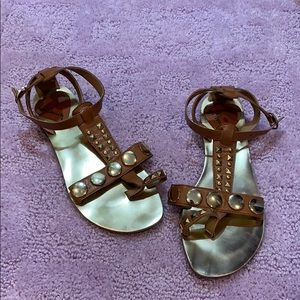 Luichiny tan and gold studded sandals
